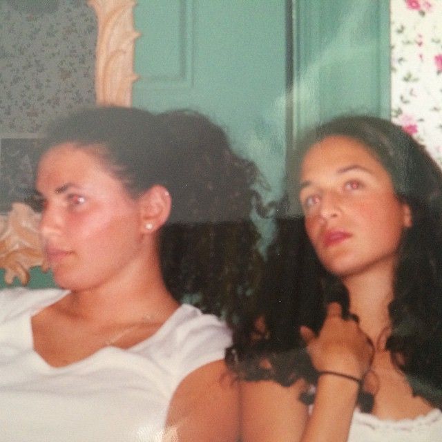 Дженни Слейт: Me and my lifelong friend @jschwartz525 at 17 years old. I'm dreaming of curly fries/getting my v-card swiped. She's thinking of fimo beads/crafts/tennis?