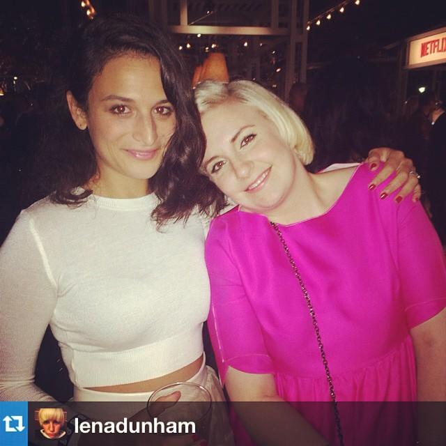 Дженни Слейт: #Repost from a true  of mine @lenadunham--- Found my sweet @jennyslate all in white like a rude little angel