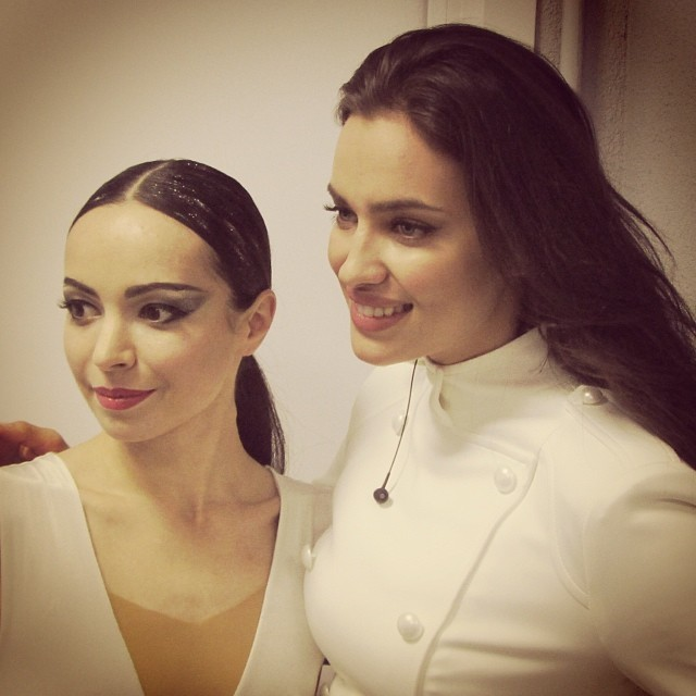 Диана Вишнёва: getting ready for Olympic Games opening ceremony. with beautiful @irinashayk