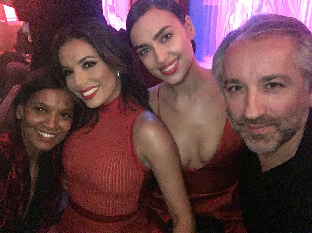 Ева Лонгория: Having fun with @irinashayk @liyakebede & our fearless leader @chapuyc at L'Oreal Red Obsession Party tonight in Paris!